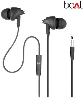 Boat BassHeads 110 In-Ear Headphones with Mic (Black)