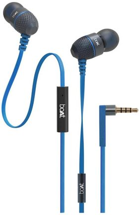 boAt BassHeads 220 Super Extra Bass In-Ear wired Headphones with Mic (Blue)
