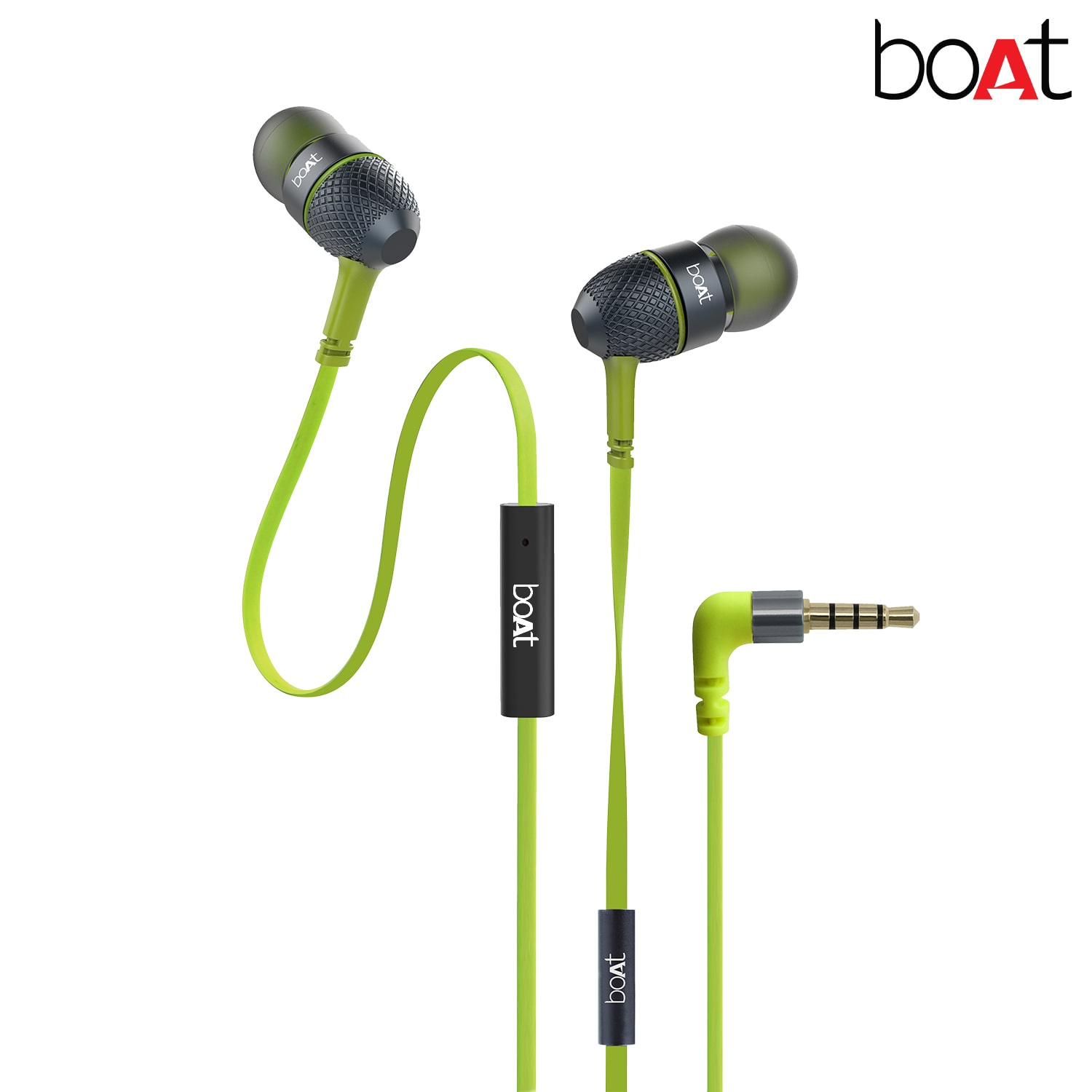 boAt BassHeads 225 Super Extra Bass In-Ear wired Headphones with Mic (Neon Lime)