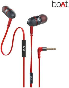 boAt BassHeads 225 Super Extra Bass In-Ear wired Headphones with Mic (Red)