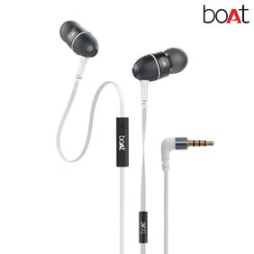 boAt BassHeads 225 Super Extra Bass In-Ear wired Headphones with Mic (Frosty White)