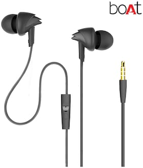 boAt BassHeads 100 In-Ear wired Headphones with Mic (Black)