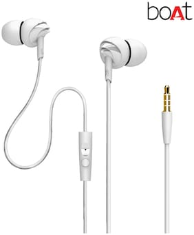 boAt BassHeads 100 In-Ear wired Headphones with Mic (White)