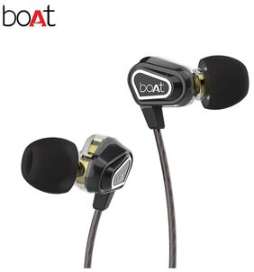 boAt Nirvanaa Duo Dual Drivers In-Ear wired Headphones with Mic (Black)
