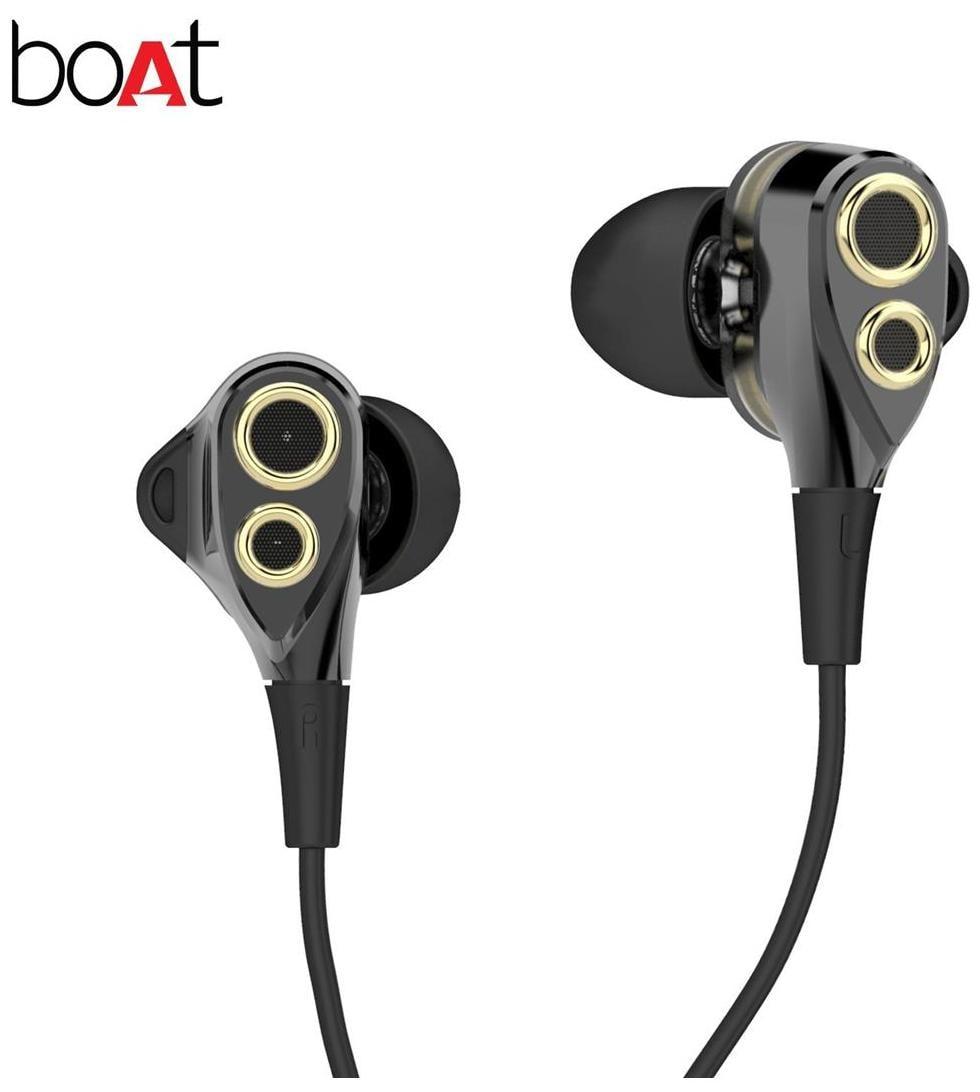 boAt Nirvanaa Deuce Dual Drivers In-Ear wired Headphones with Mic (Black)