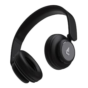boAt Rockerz 450 Wireless Bluetooth Headphone;Adaptive Lightweight Design;Immersive Audio;Easy Access Controls and Dual Mode Compatibility (Luscious Black)