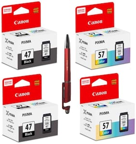 Canon 47 Twin & 57 Twin Ink Cartridge Bundle with ITGLOBAL 3 in 1 Multi-Function Anti-Metal Texture Rotating Ballpoint Pen ( Set of 4 ) PG 47 Black & CL 57 Colour