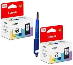 Canon 99 Twin Ink Cartridge Bundle with ITGLOBAL 3 in 1 Multi-Function Anti-Metal Texture Rotating Ballpoint Pen ( Set of 2 ) CL 99 Colour