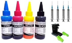 White Sky Canon Printer Refill Ink with Suction Tool for Canon Pixma MG 3070s  MG 3070  MG 3170  MG 3570  MG 3670  MG 3077s - 75ml x 4 Bottles with 4 Syringes