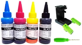 Canon Printer Refill Ink with Suction Tool for Canon Pixma E510 E500 E400 E460 E417 E477 E470 E600 E610 E560 E480 Printers - 75ml x 4 Bottles Cyan Magenta Yellow Black with Thumb Drill and Syringes