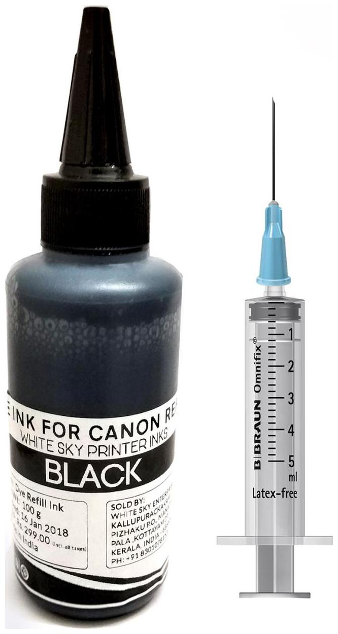 White Sky Canon Printer Black Refill Ink for PG 740 and CL 741 Cartridges   100ml with Refilling Tools