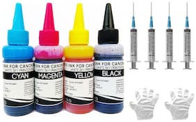 White Sky Canon Printer Refill Ink for Canon Pixma E510 E500 E400 E460 E417 E477 E470 E600 E610 E560 E480 Printers - 75ml x 4 Bottles Cyan Magenta Yellow Black with Refilling Syringes