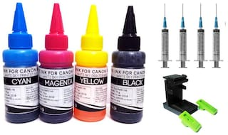 White Sky Canon Printer Refill Ink with Suction Tool for Canon Pixma MG 2570s   iP 110   iP 2770  iP 2772 - 75ml x 4 Bottles with 4 Syringes