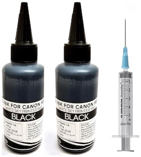 White Sky Canon Printer Black Refill Ink for Canon Pixma MG 2570s   MG 2170  MG2270  MG 2470  MG 2570  MG 2970  Printers: 200ml Ink with Syringe