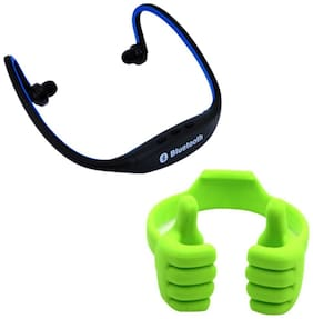 Captcha  Bluetooth Headsets With Mobile Holder Combo For All Smartphones (Multi)