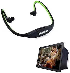 Captcha  Bluetooth Headsets With 3D Screen Magnifier Combo For All Smartphones (Multi)