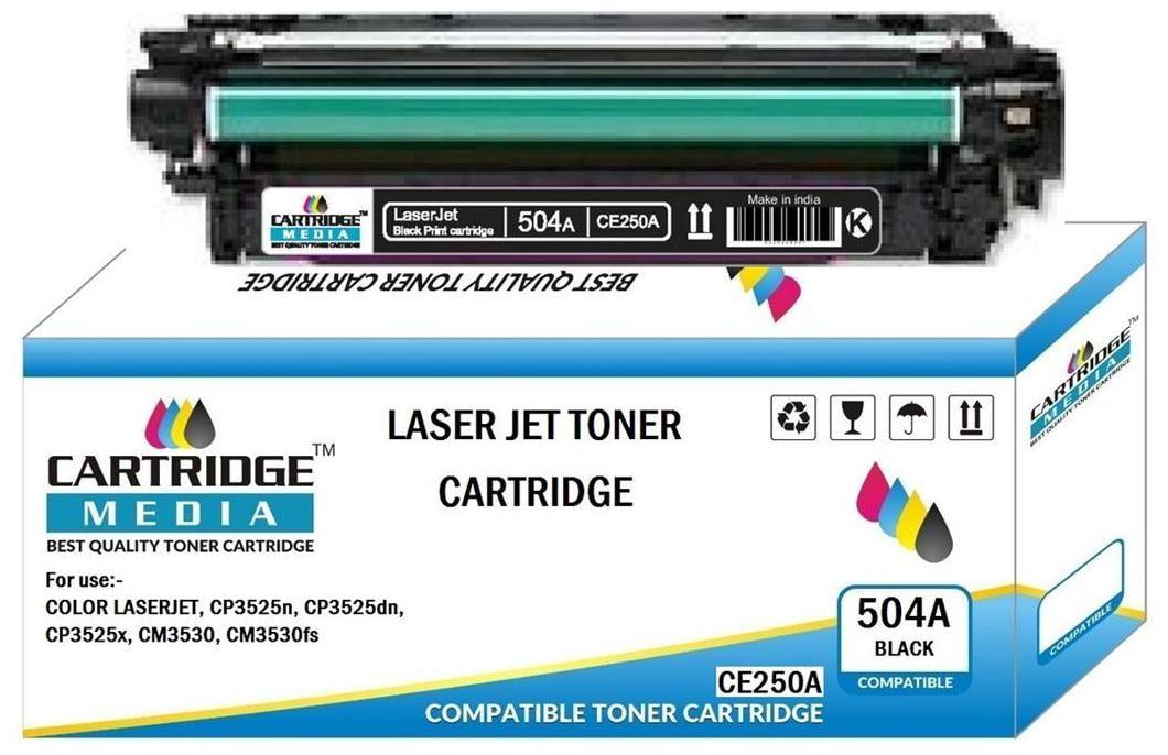 CARTRIDGE MEDIA 504A  CE250A  Black Toner Cartridge Compatible with HP Color Laserjet HP Color Laserjet Printer CP3525, 3525n, 3525dn, CM3530, 3530fs