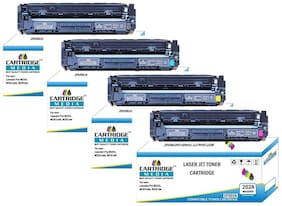 CARTRIDGE MEDIA Pack of 4 Color CF500A Black, CF501A Cyan, CF502A Yellow, CF503A Magenta, Toner Cartridge for Hp Laserjet Printer Pro M254dw, M254nw, MFP M280nw, M281fdn, M281fdw (Set Pack of 4 Color)