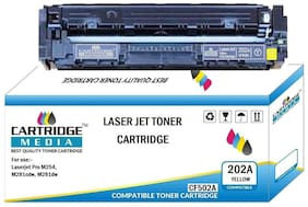 CARTRIDGE MEDIA 202A Compatible for Hp CF502A Yellow Toner Cartridge for HP Laserjet Printer Pro M254dw, M254nw, MFP M280nw, M281fdn, M281fdw (Yellow)
