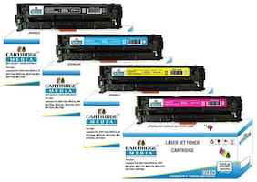 CARTRIDGE MEDIA Pack of 4 Color Hp CE410A Black CE411A Cyan CE412A Yellow CE413A Magenta Toner Cartridge for Hp Laserjet Printer Pro 300 Color M351a MFP M375nw M451dn M451dw M451nw M475dn M475dw Set