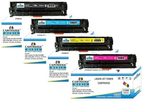 CARTRIDGE MEDIA Pack of 4 Color (CE320A CE321A CE322A CE323A) Toner Cartridge for Hp Laserjet Printer CM1415FNW, CM1415FN,CP1520 CP1525, CP1525N, CP1525NW, CP1521N (1 Set)