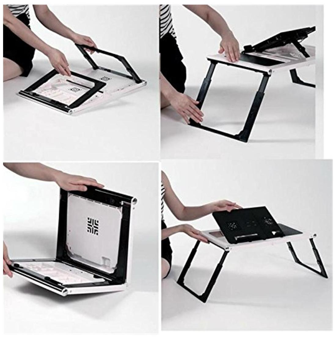 CheckSums Plastic_Laptop_Table_White_Black Laptop Stand (White & Black)