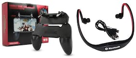 CHG  Universal w10 Gamepad for Mobile with Cooling Fan,  & Bluetooth BS19C in-Ear Earphone Neckband -05