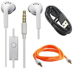 Combo Offer Samsung galaxy YS Earphone Headsets With Mic For ALL Android Smartphones - With High Speed Data sync Charging Usb Data Cable And Aux Cable