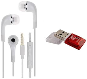 Combo Pack Original Samsung Earphone Having Extra Bass, Sound Controller And Mic For Lenovo Vibe K5 Note 4G Phones ---With Quantum Card Reader