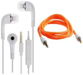 Combo Pack Samsung YR - EHS61ASFWE Handsfree Headset Earphones Headphone With 3.5mm Jack & Mic - ---With 1.2 Miter Male To Male Multi Colour Aux Cable