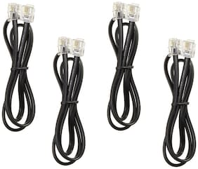De-Techinn (Pack Of 4) RJ11 Male Plug to Plug Wire Modem Line (2 Meter) Coper Flat landline Telephone Cable/Network Cable/Patch Cable/Extension Cable Cord (Black)