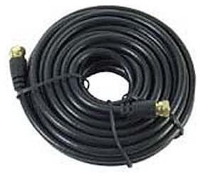 Eagle 18' FT RG59 Coaxial Cable Black with F Male Connector Each End Gold F-Male
