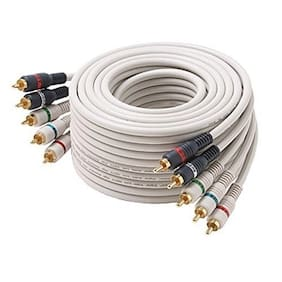 Eagle 3' FT 5 RCA Component Cable Male to Male Ivory Double Shielded Video Cable