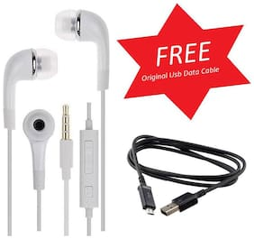 Earphone 3.5 M M High Base Headphone For All Android Mobiles/Tablets - With Free High Speed Charging Usb Data Cable