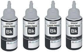 Epson 664 BLACK 100% GENUINE 70 ML x 4 QTY Ink Bottles Valuable Pack Single Color Ink Cartridge  (Black)