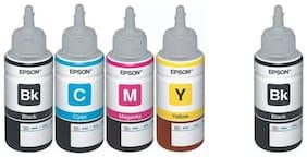 Epson Ink All Colors + Black Extra 70 Ml Each For L100/L110/L200/L210/L300/L350/L355/L550 (Pack of 5)