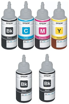 Epson Ink All Colors with 2 Black Extra  (T6641-B T6642-C T6643-M T6644-Y) 70 Ml (Pack of 6)