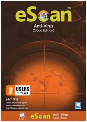 eScan Anti virus ( 2 pc , 1 year )