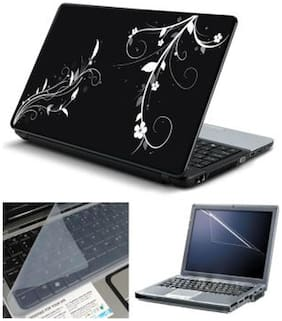 FineArts Abstract Floral Black Back 1 Laptop Skin For 15.6 inch Laptop With Screen Guard & Keyboard Protector
