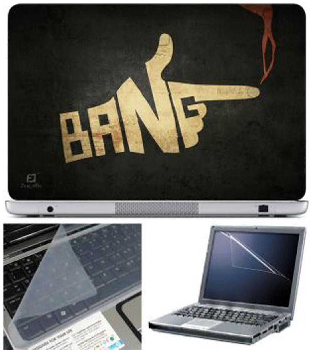 FineArts Bang Laptop Skin For 15.6 inch Laptop With Key Guard   Screen Protector