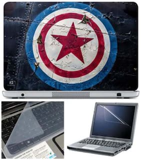 FineArts Captain America Logo Laptop Skin For 15.6 Inch Laptop With Key Guard & Screen Protector