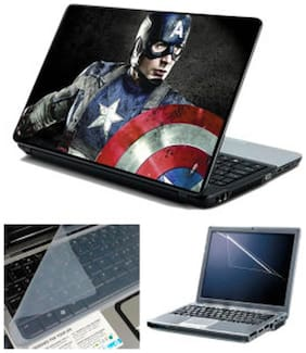 FineArts Captain America Laptop skin For 15.6 Inch Laptop Screen Guard & keyboard Protector