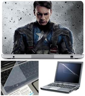 FineArts Captain America Sad Laptop Skin For 15.6 Inch Laptop With Key Guard & Screen Protector