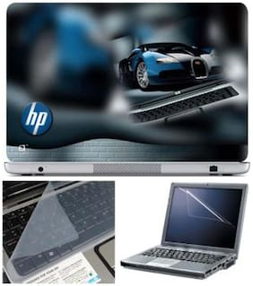 FineArts HP Car Laptop Skin For 15.6 inch Laptop With Key Guard & Screen Protector