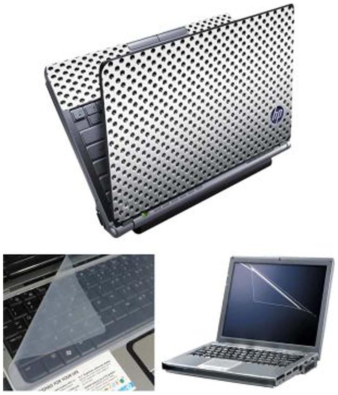 FineArts HP On Metal Laptop Skin For 15.6 inch Laptop With Screen Guard   keyboard Protector