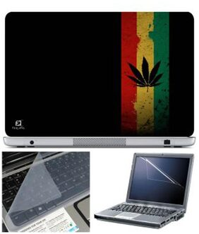 FineArts Leaves Three Strip Laptop Skin For 15.6 Inch Laptop With Key Guard & Screen Protector