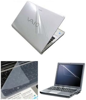 FineArts Transparent 3D Laptop Skin For 39.62 cm (15.6) Laptop & Screen Guard & Keyboard Protector