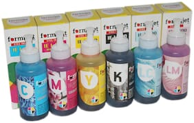 Formujet IE L800 Ink for Epson - Set of 6 Colors 70 gm for Ink Tank Printer Epson L800, L1800, L805, L850, L810 (Cyan, Yellow, Magenta, Black, Light Cyan, Light Magenta)