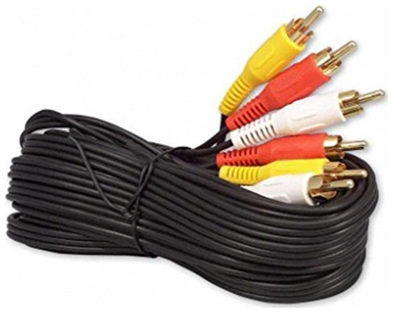 FoxMicro PREMIUM 3RCA Composite Cable 5FT/1.5M Stereo Audio and Video Component Shielded Wire R/W/Y AV Cable for TV VCR DVD HD TV and Other Home Theat