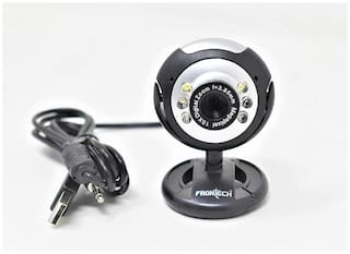 Frontech E-Cam FT-2251 Webcam Built in Mic with LED Lights for PC Web Cam for Video Calling, Video Conferencing, Online Teaching or Gaming